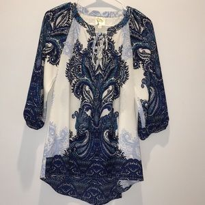 Fig and Flower Blue Print Top Small
